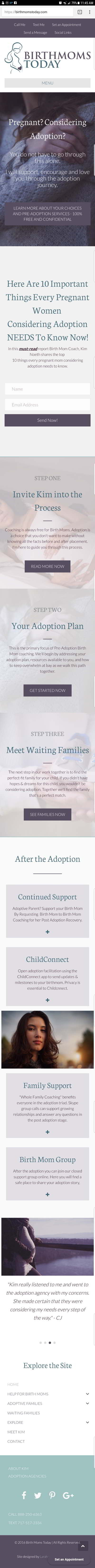 Mobile Preview of Birth Moms Today Website