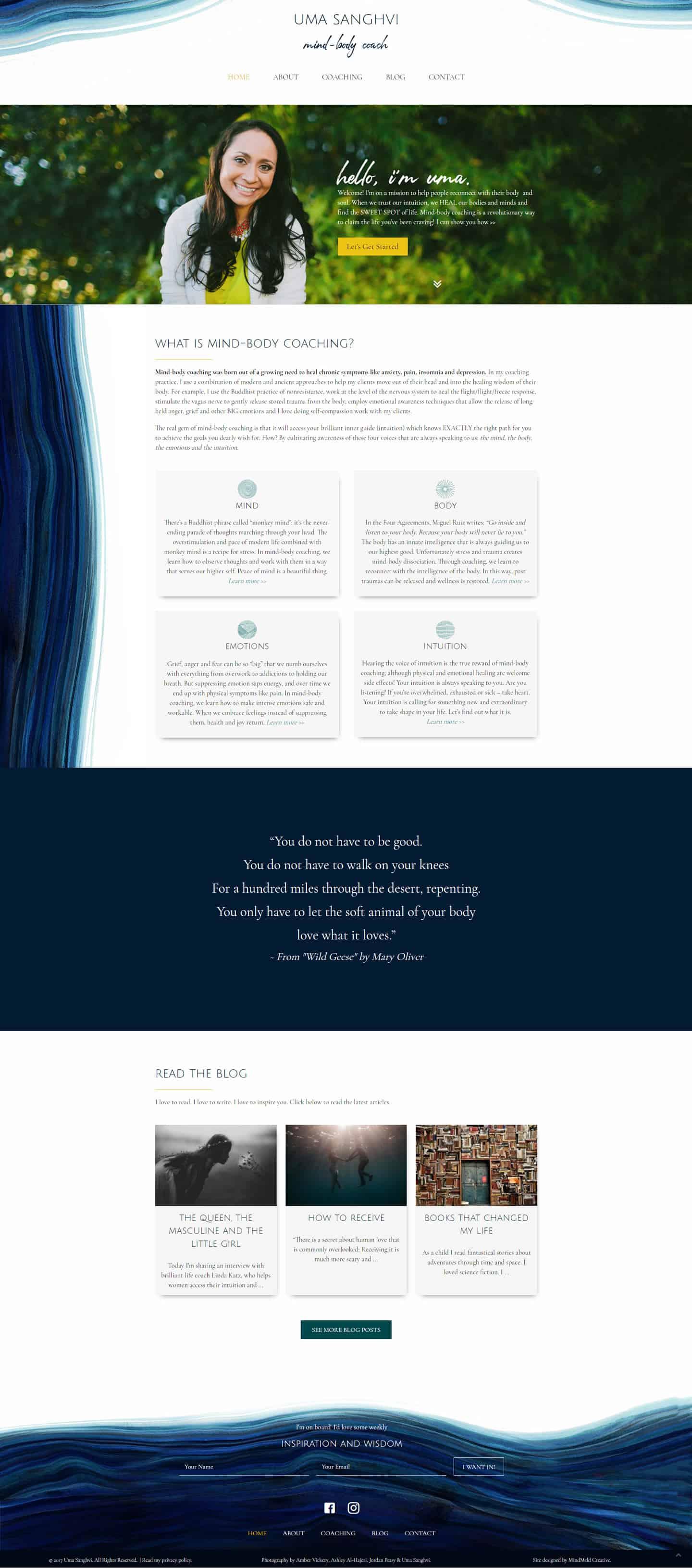Desktop Preeview of Uma Sanghvi Website